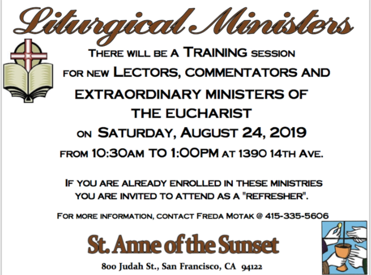 Liturgical minister training, 8/24/19