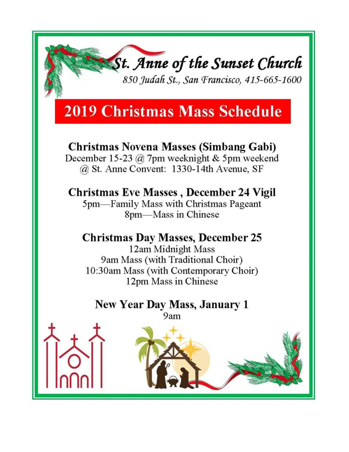 Christmas 2019 Schedule of Services