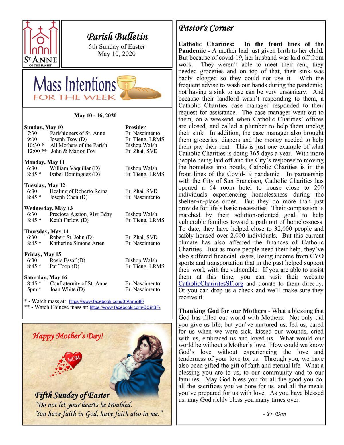 Sunday Bulletin May 10, 2020