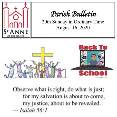 Parish Bulletin 8/16/2020